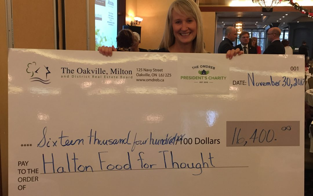 Oakville, Milton and District Real Estate Board presents Halton Food for Thought SNPs with $16,400 donation at recent OMDREB AGM!